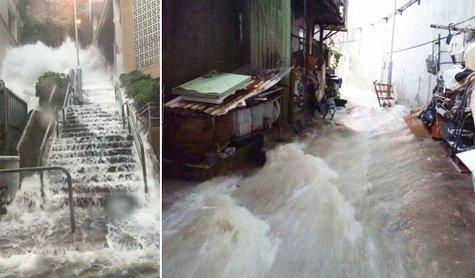 香港大雨!各地で被害続出