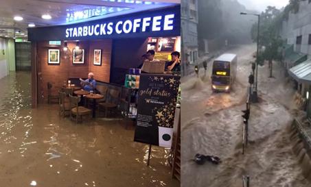 大雨で香港の道路が大洪水に!モールにも浸水