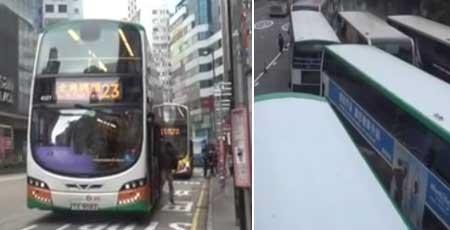 香港バスが停車位置を厳守 渋滞を起こす懸念