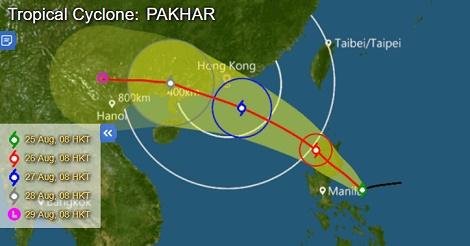 8月27日(日)香港にまた台風が接近!?