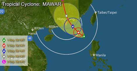 9月3日(日)台風「MAWAR(マーワー)」が上陸!