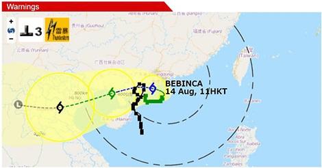 台風16号「バビンカ」、香港天文台は警報シグナル3を発令