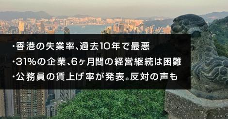 香港の失業率が過去10年で最悪