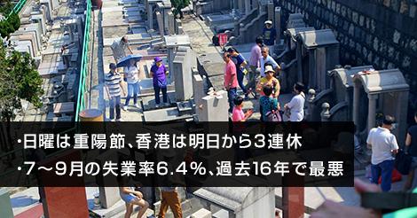 日曜は重陽節、香港は明日から3連休