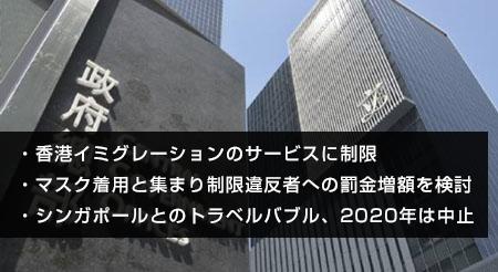 香港政府の新型コロナ対策の最新対応について