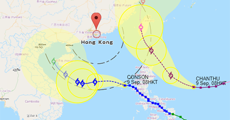 香港に接近する台風13号とスーパー台風14号